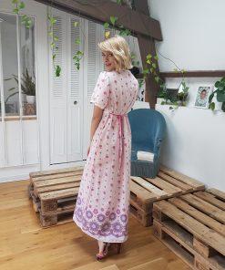 60s Pink Maxi Floral Dress