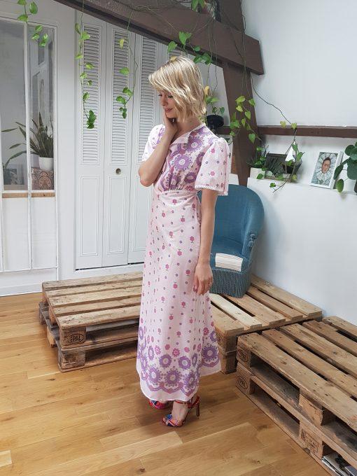 60 Pink Maxi Floral Dress