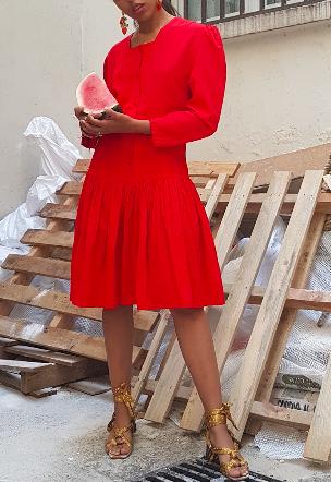 80s Red Dress
