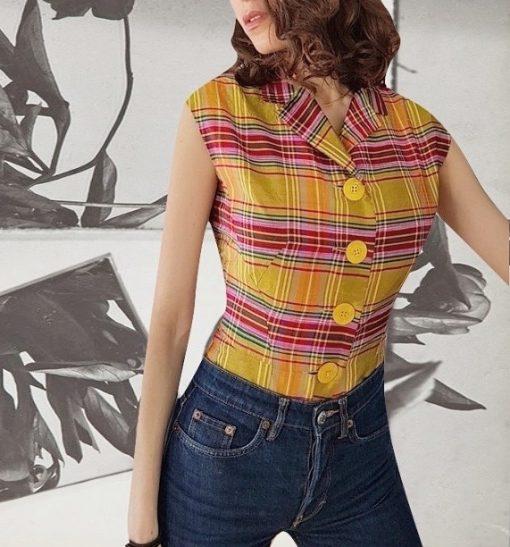 50s Checkered Silk blouse